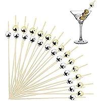 200ピース竹カクテルピック前菜つまようじ、4.7インチのシルバーとゴールドパール木製の串刺しつまようじ結婚式の誕生日パーティー用品