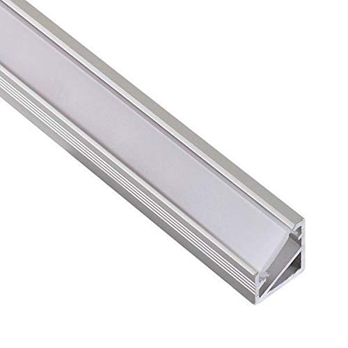 DL1614 - Perfil angular de aluminio 6063, 10m, 5 barras de 2m, para tiras LED, con cubierta opaca, tapas y grapas de montaje incluidas
