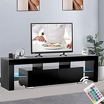 Mecor White TV Stand with Lights, Modern LED TV Stand with Storage and Drawers, High Gloss TV Stand for 65 Inch TV Living Room Furniture