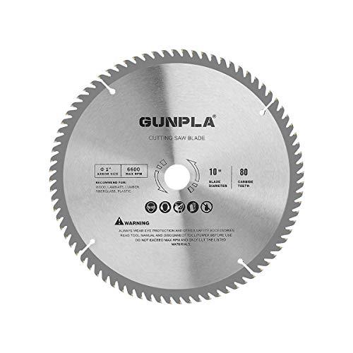 Gunpla 10 Inch Disco de TCT Cuchillas de Sierra Circular Hojas Sierra para Madera Contrachapada 254 mm x 25.4 mm 80 Dientes