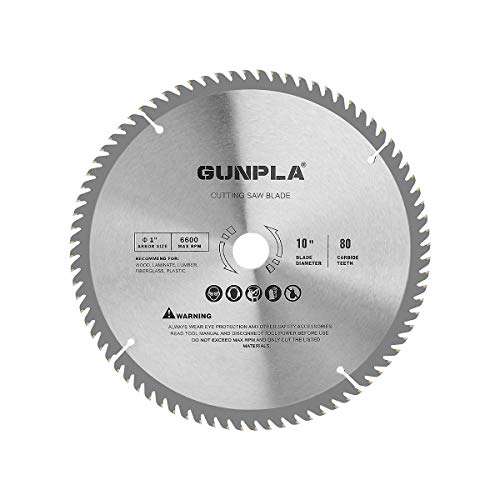 Gunpla 10 inch TCT Circular Saw Blade 80 Teeth Carbide Wood Cutter 254mm Alloy Steel Woodworking Finishing Saws for Wood Cutting 1 inch Arbor 25.4mm