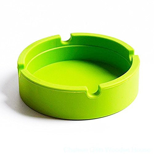 Kentop Posacenere in silicone portatile ad alta temperatura tolleranza forma rotonda posacenere, Silicone, verde, 8.5×2.2cm