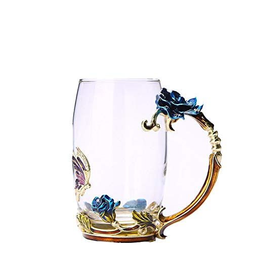 Q-QQ9 Couple Water Glass 珐琅 Crystal Glass Creative Flower Tea Cup Gift Cup*Transparent col*Short Cup Mmm