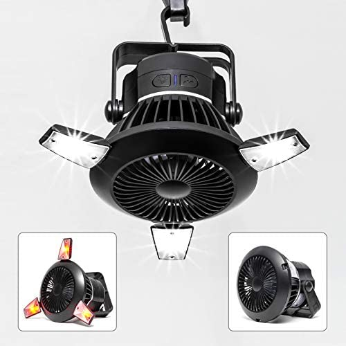BusyPiggy Solar Camping Fan with LED Lantern Portable Tent Fan with Hanging Hook Rechargeable product image