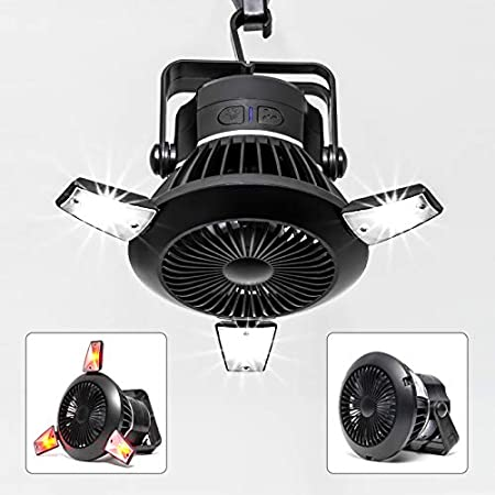 BusyPiggy Solar Camping Fan with LED Lantern