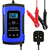 Car Battery Charger and Maintainer, 12V/6Amp Automatic Battery Charger with Charge, Maintain and Repair Functions for Most Types of Lead Acid Batteries, Blue