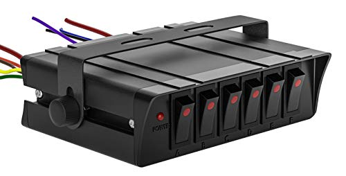 12v Panel De Interruptor Basculante Caja con Dual 20a Fusibles, 6 Interruptores Ip65 Impermeable 3pin, Luz Indicadora Roja,para Coche, Barco, Marina, Camiones, Campista, VehíCulos