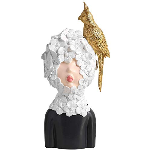 XYSQWZ Statues Sculpture Figurines Statuettes,Creative Resin Cute White Floral Girl And Gold Bird Figure Figurine Sculpture Collectible,Ornaments Desktop Crafts Art Statuettes For Indoor Living Room
