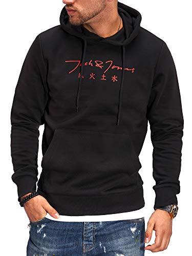 JACK & JONES Herren Hoodie Kapuzenpullover mit Print Sweatshirt Hoody Pullover (M, Black/Tango Red)