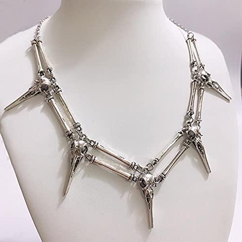 LKHJ Remolque El Collar del Cuervo Antiqued Silver Bird Skull, Collar de Cuello Unisex Men's Necklace-B