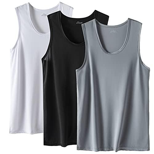 Camiseta de Tirantes sin Mangas para Hombre Pack de 3 Tank Top Gym para Fitness Deportes