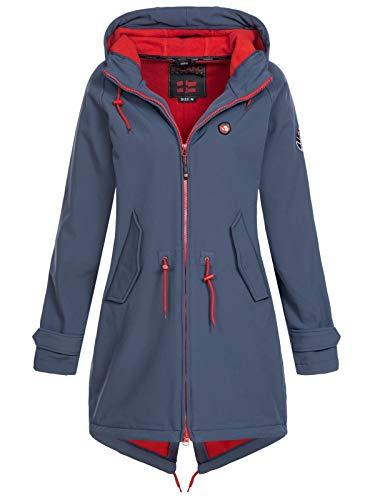 X-Land Damen Softshell Kurzmantel Brühl Jacke mit Kapuze dunkelblau M