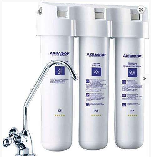 AQUAPHOR Crystal A (cristal A) Sistema de filtración de agua potable bajo el fregadero con grifo separado (filtro de flujo de agua potable)