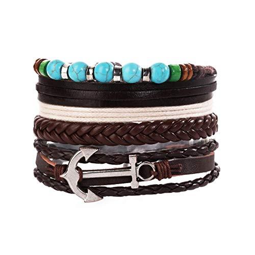 MiniJewelry - 3 pulseras de cuero trenzadas para hombres y mujeres y pulseras ajustables