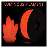 QDTD PLA Filament, Glow in The Red, PLA 3D Printer Filament, 1KG (2.2 LBS) Spool 3D Printing Filament for 3D Printers, Luminous red (Size : 1.75mm)