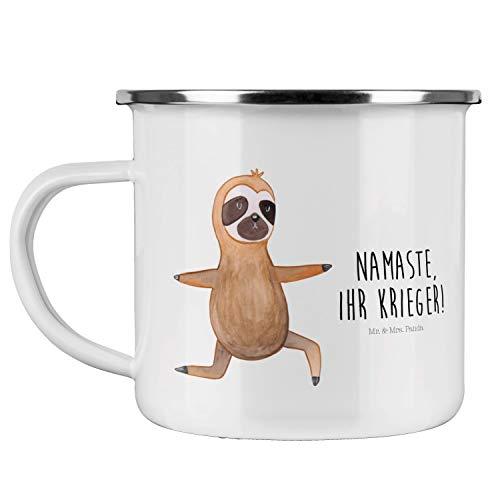 Mr. & Mrs. Panda Motivtasse, Becher, Camping Emaille Tasse Faultier Yoga mit Spruch - Farbe Weiß
