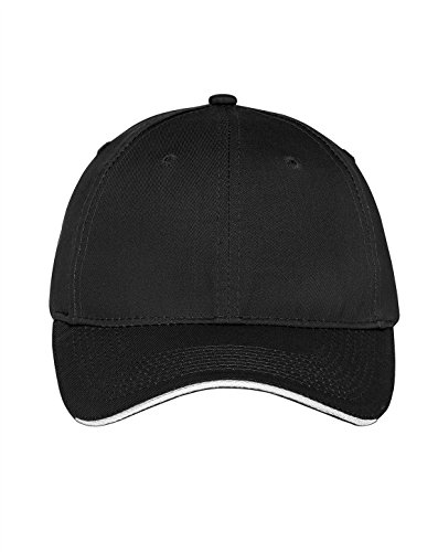 Port & Company Unstructured Sandwich Bill Cap-One Size (Black/White)
