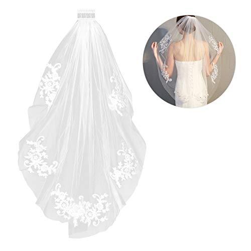 Lurrose Simple y Elegent Crystal Beaded Velo de novia corto con apliques...