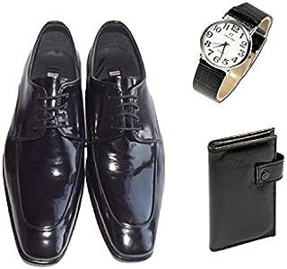 Eray Kundura Klasik Siyah Düz Erkek Ayakkabısı + Cüzdan + Kol Saati