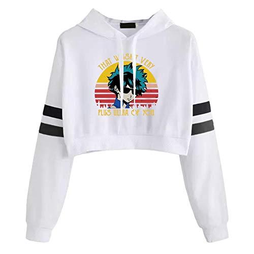 Elibeauty lunanana MHA Kapuzenpullover Bedrucktes Sweatshirt mit langen gestreiften Ärmeln, Pullover für Kinder, Geschenk zu Thanksgiving, Weihnachten (XL, weiß)