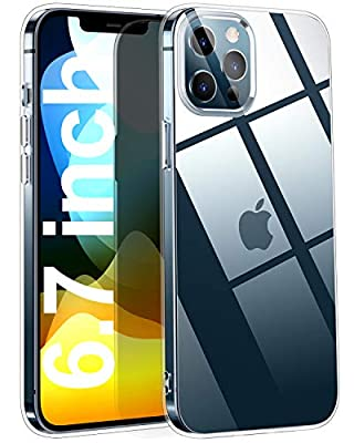 THREEBEES Compatible with iPhone 12 Pro Max Case Clear Slim Fit Thin Soft Cover with Premium Flexible Bumper Protective iPhone 12 Pro Max Cases, 6.7 inch – Crystal Clear