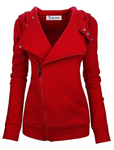 TAM WARE Women Slim fit Zip-up Hoodie Jacket TWHD1003-RED-S