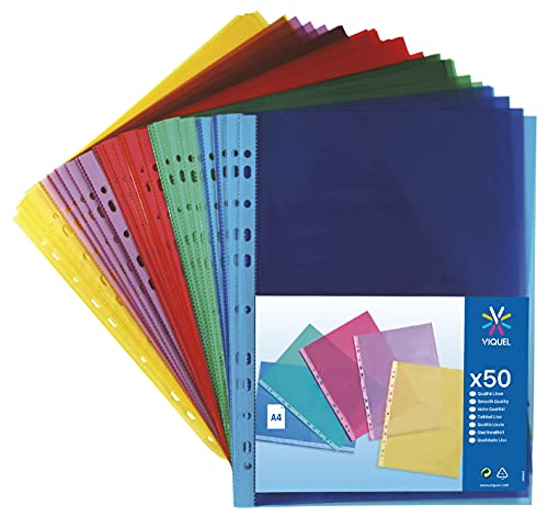 Viquel 208254 - Pack de 50 fundas perforada, de polipropileno, A4, multicolor