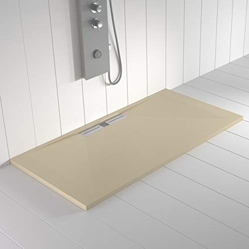 Shower Online Plato de ducha Resina WIDE - 80x140 - Textura Pizarra - Antideslizante - Todas las medidas disponibles - Incluye Rejilla Color Crema y Sifón - Crema RAL 1015
