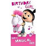 Entzückende Geburtstagskarte, Agnes und flauschiges Einhorn aus 'Ich - Einfach Unverbesserlich'