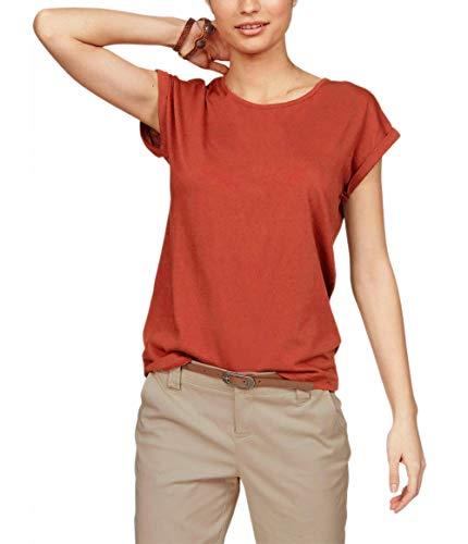 TrendiMax Damen T-Shirt Einfarbig Rundhals Kurzarm Sommer Shirt Locker Oberteile Basic Tops (Ziegelrot, S)