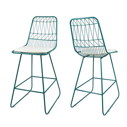 Great Deal Furniture Hedy Outdoor Counter Stools, 26' Seats, Modern, Geometric, Teal Iron Frames with Ivory Cushion (Set of 2)