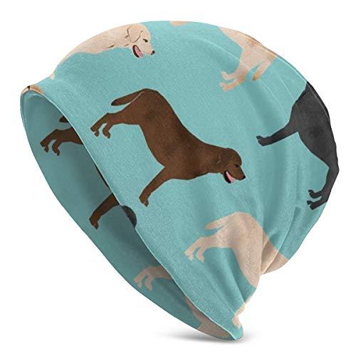 NUBOMINI Leuke Labradors Geel Chocolade Zwart Lab Huisdier Honden Casual Beanie Cap Schedel Hoed Winddichte Oordopjes Hoed Dome Cap Hoofddeksels