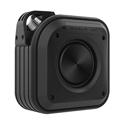 Luoshan Bluetooth Speaker, Portable 15w Bass Steel Cannon with Lanyard, Suitable for Outdoor Party/living Room (Color : Black)