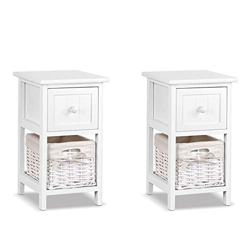 Bedside Table Set of 2, Retro Bedside Table with Wicker Basket for Bedroom Wood Bedside Cabinets with 1 Drawer,Simple Nightstand Cabinet for Living Room (White 1 drawer)