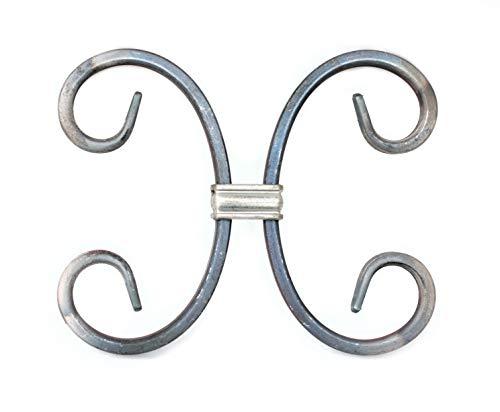 UHRIG ® #558 Doppel C Schnörkel mit Klammer Aufstecken auf Zaunstab Schmiedeeisen