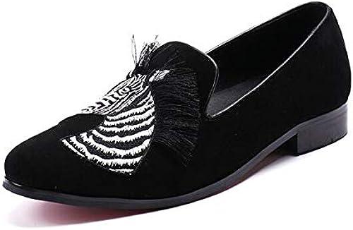 LOVDRAM Chaussures en Cuir pour Hommes Designer Britannique Zèbre Hommes Mocassins en Cuir Rouge Bas Hommes Chaussures Habillées Chaussures De Mariage Plus Taille Pantoufles