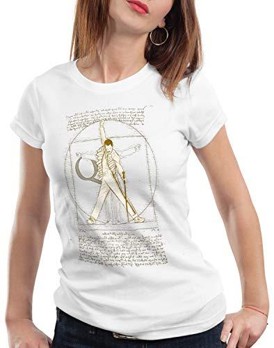 style3 Freddie de Vitruvio Camiseta para Mujer T-Shirt da Vinci Live Rock You Festival, Color:Blanco, Talla:M