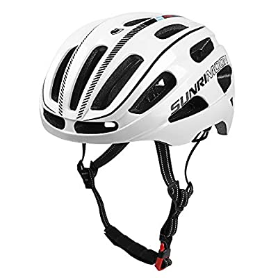 SUNRIMOON Adult Bike Helmet Rechargeable LED Light, Bicycle Helmet CPSC Certified with Upgrade U Shape Side Strap Adjustable Size for Mountain & Road Cycle Helmets for Adult Men/Women