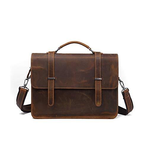XiaoDong1 Hiking Backpack Retro Leather Men's Bag Business Briefcase Casual Fashion Men's Handbag Cross Section Shoulder 14 Inch Computer Bag Large Capacity Messenger Bag Black Brown (Color : Brown)