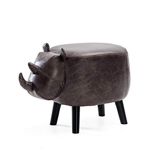 ZZP Modern Furniture Children Animal Stool Solid Wood Sofa Stool Cartoon Style Cattle Stool,D-pu