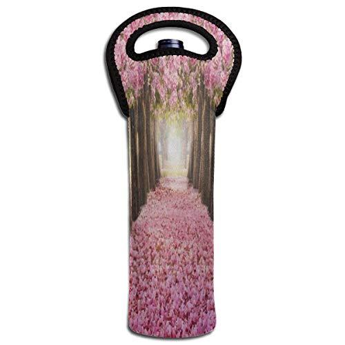 Rode Wijn Sets Roze Bloem Boom Bruiloft Beschermende Champagne Tas Fles Houder Tas Geïsoleerde Gewatteerde