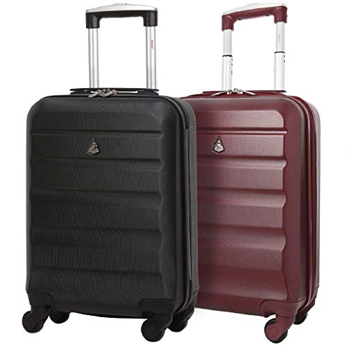 Set of 2 Aerolite 55cm ABS Hard Shell Carry On Hand Cabin Luggage Suitcase (Black + Wine)