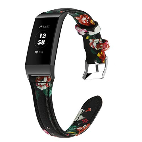 EloBeth Leather Flower Printed Bands Compatible with Charge 4 Bands Accessories Wristband Strap Replacement for Fit bit Charge 4 Fitness Watch (Black Connecter, Red Flower)