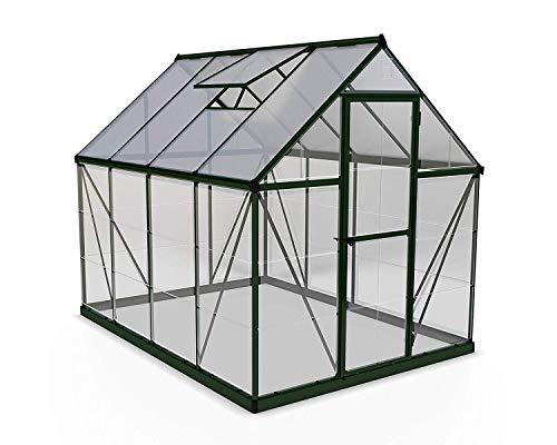 Palram Canopia Hybrid Serre de Jardin – Murs an Polycarbonate Transparent – Toit en Polycarbonate Translucide, Cadre Aluminium, Base inclue – Verte