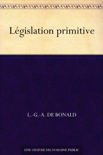 Couverture du livre Législation primitive