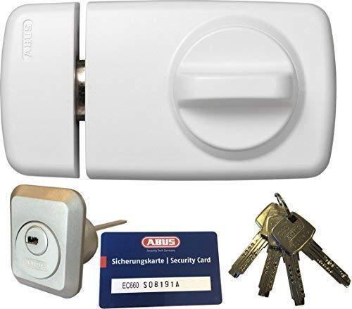 ABUS Tür-Zusatzschloss 7010 W weiß, EC660, Kastenschloss mit Drehknauf, mit 4 Schlüssel und Sicherungskarte, Ausführung EK (Metallausführung)
