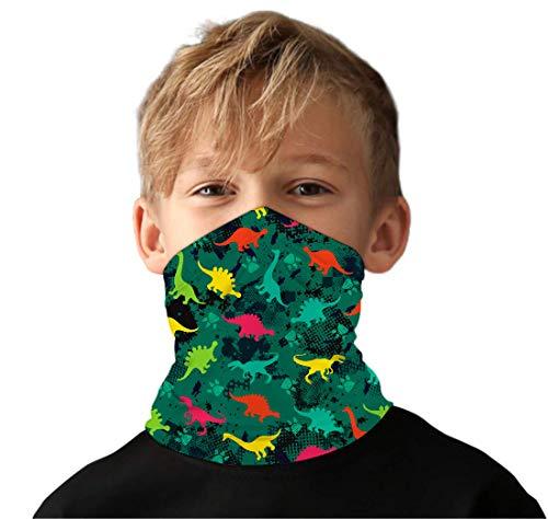 Kids4ever Kinder Bunt 3D Bunt Dinosaurier Halstuch Schlauchschal Multifunktionstuch Mundschutz Halstuch Sommer 3D Cartoon Bedrucke UV-Schutz Schlauchtuch für Mädchen Jungenn