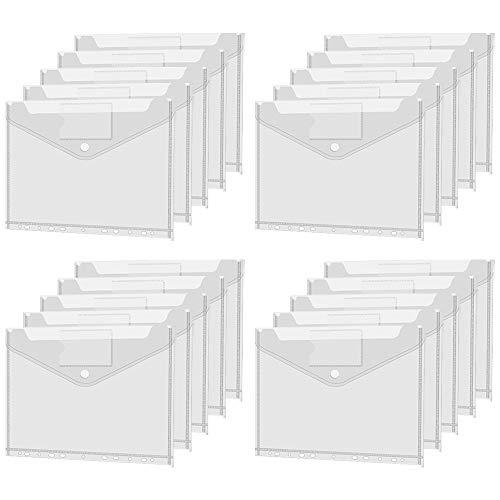 Dokumententasche Transparent A4, 20pcs Dokumententasche mit Druckknopf, Mappen Brieftaschen Tasche für Dokument Organisieren mit Lochrand Klettverschluss und Etikettentasche