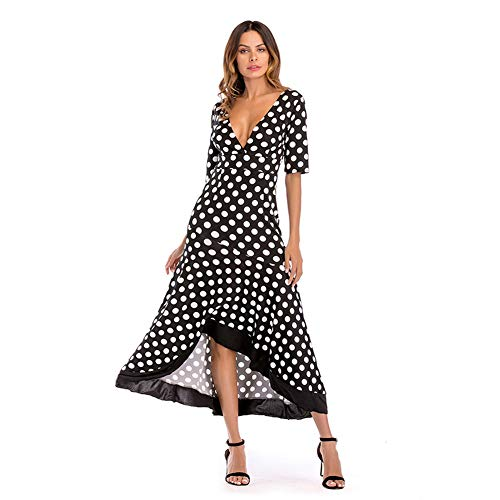 Yyh Dames-jurk, zomer, casual, chiffon, V-hals, korte mouwen, taille-vetersluiting, solide kleuren, strandjurk Small zwart