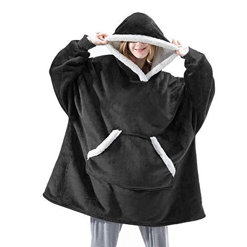 XGG Sherpa Hoodie Sudadera Manta Manta Mujer de Sudadera con Capucha Supersuave, Cálido y Cómodo, Talla única, para Hombres, Mujeres, Niñas, Niños y AmigosBlack